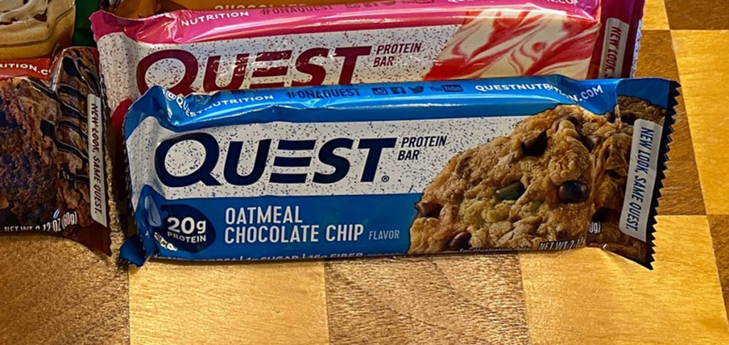 oatmeal chocolate chip quest bar on table