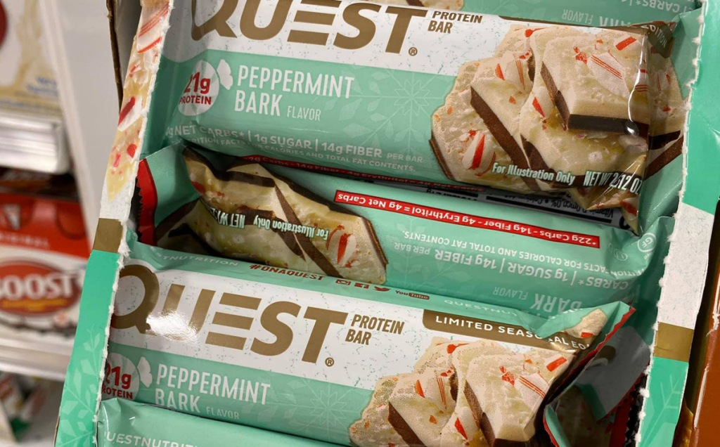 peppermint bark quest bar in box