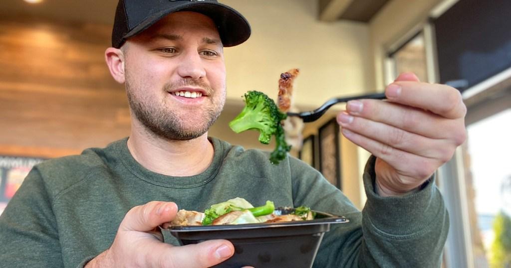 man eating panda express