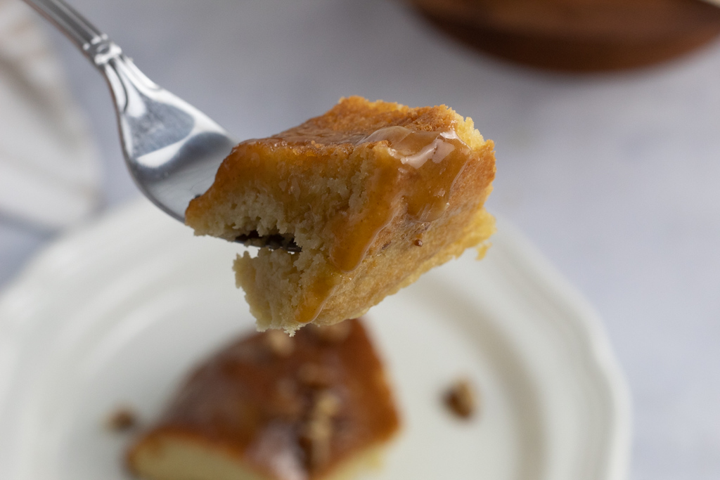 keto caramel bundt cake on fork