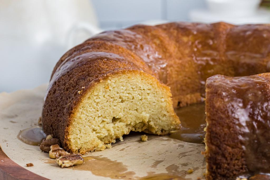 keto bundt cake sliced