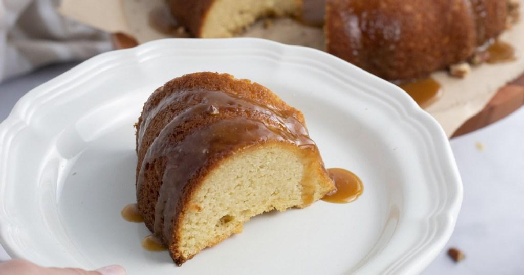 caramel bundt cake slice on plate