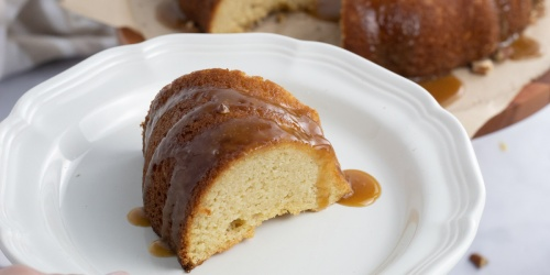 Keto Bundt Cake with Caramel Glaze