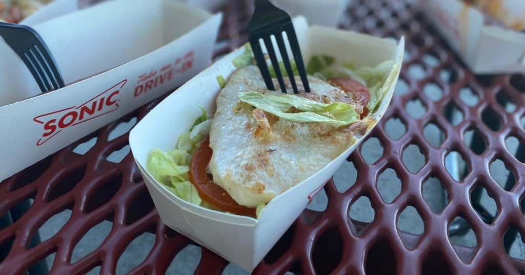 keto chicken with lettuce and tomato in container at Sonic Drive-In