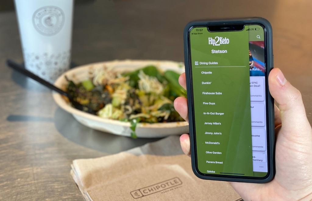 phone showing Keto app at Chipotle