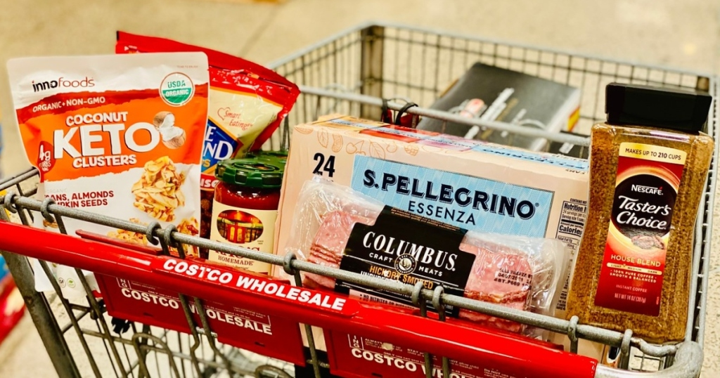 keto grocery items in Costco shopping cart