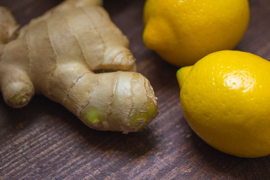 ginger and lemons on counter