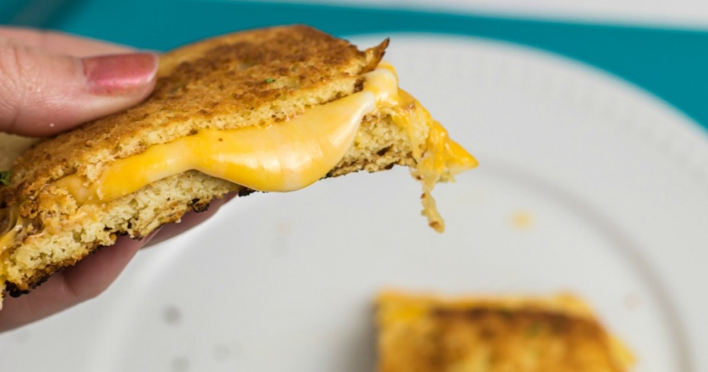 slice of a keto grilled cheese sandwich