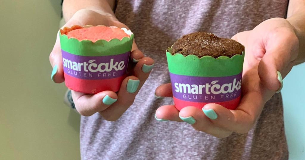 woman holding keto SmartCakes in both hands