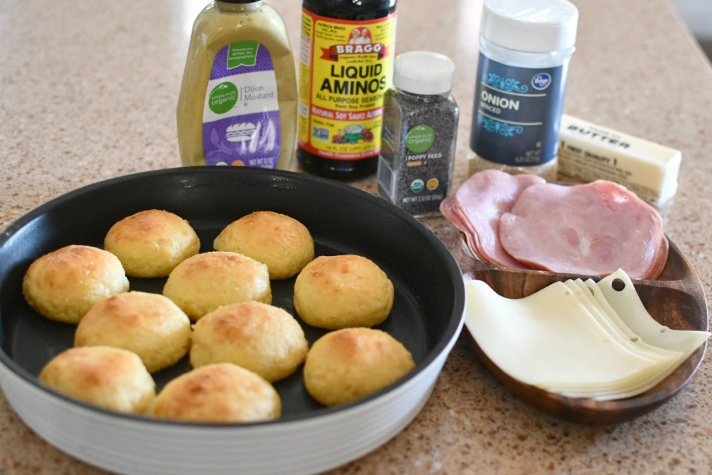 ingredients for ham and cheese sliders keto