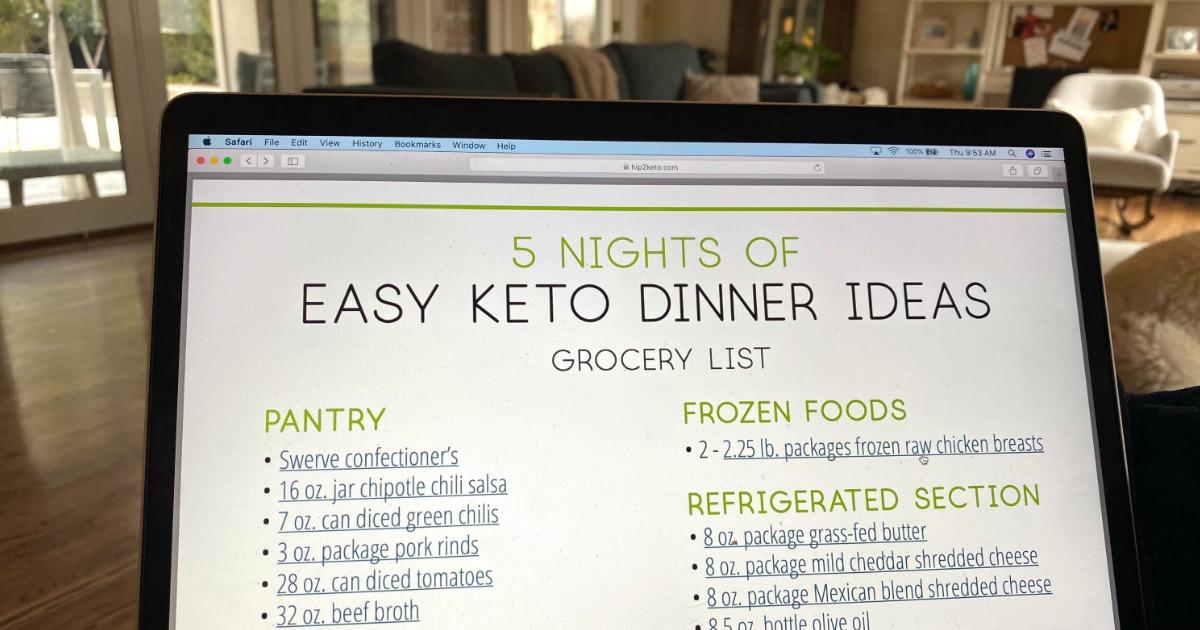 5 Nights Easy Keto Dinner Ideas grocery list on macbook