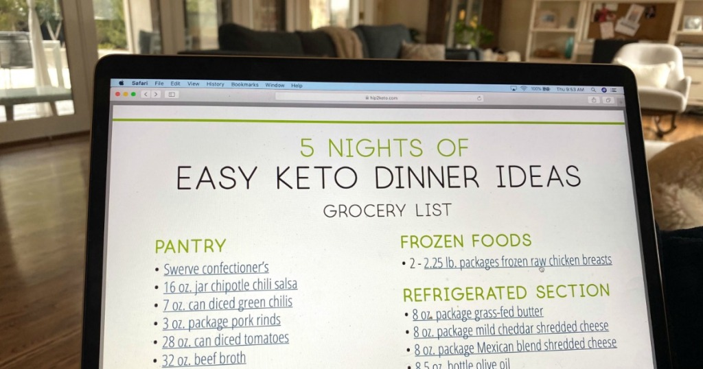 keto meal planning on laptop screen