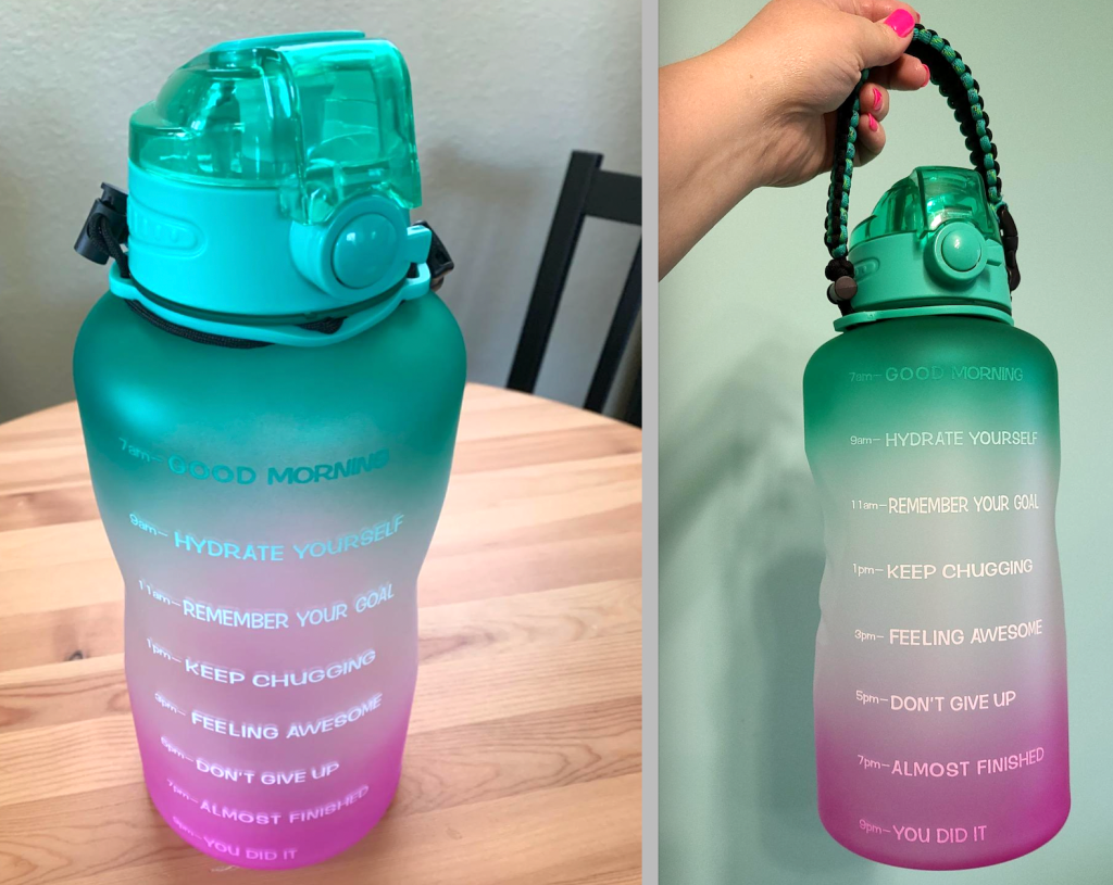 2 large and colorful water bottles
