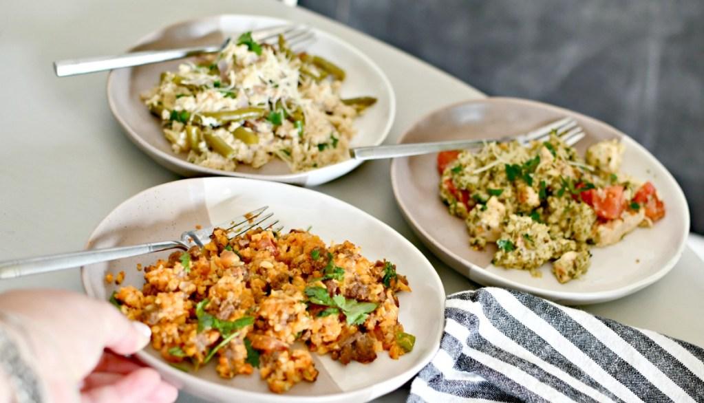 3 plates of different cauliflower rice