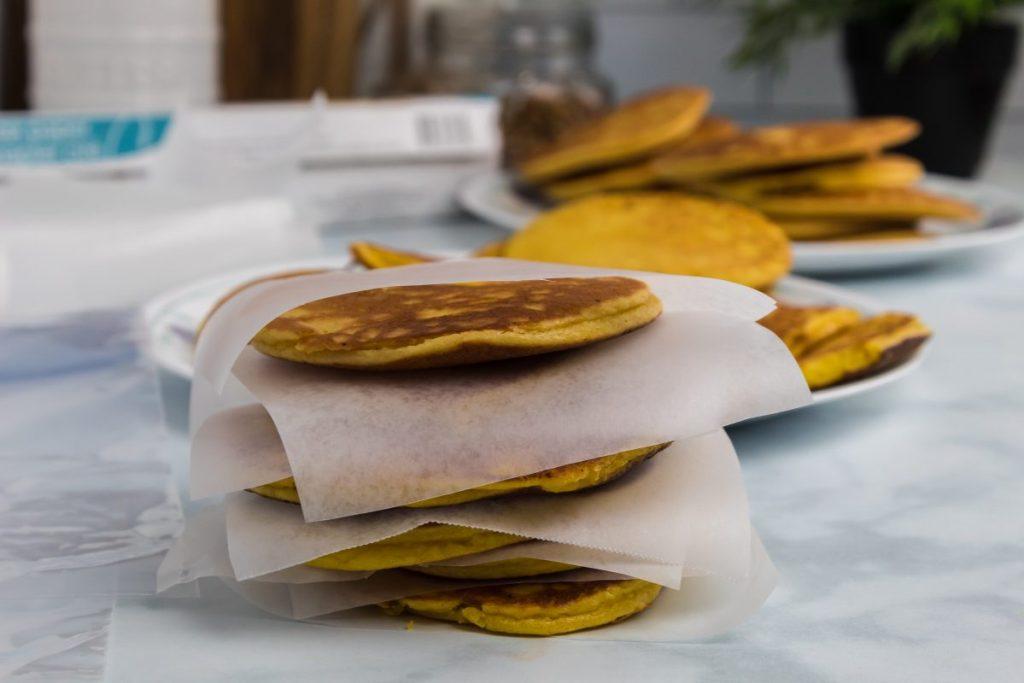 keto pancakes stacked