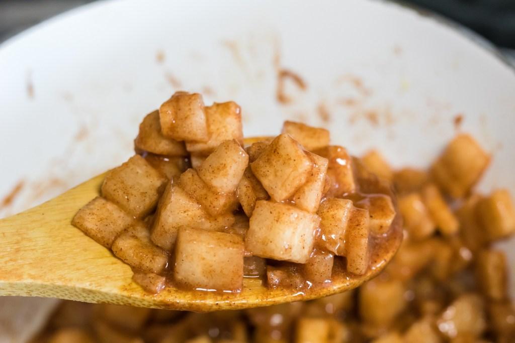 jicama sautéed in pan