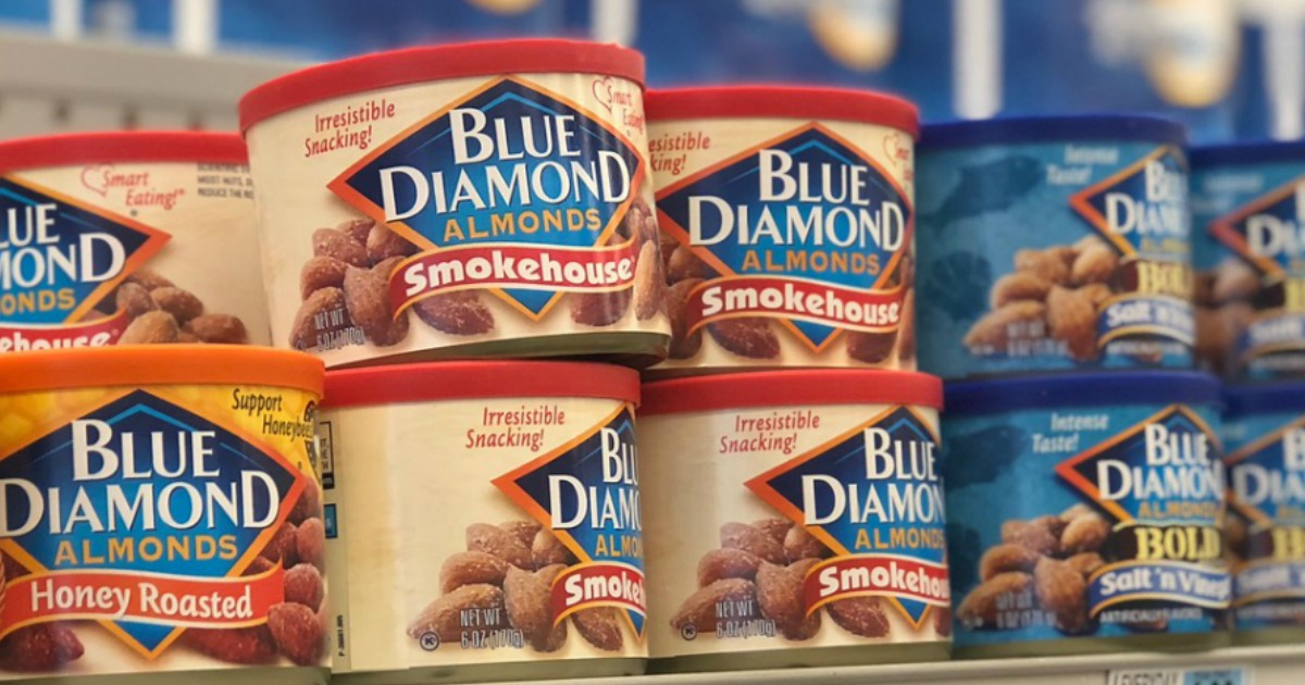 shelf with blue diamond almonds