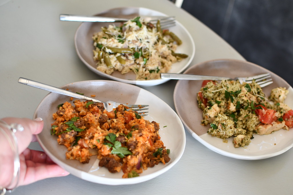 3 bowls of cauliflower rice meals