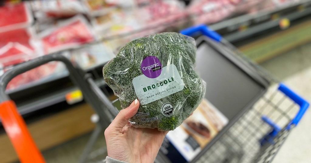 holding broccoli crown in walmart