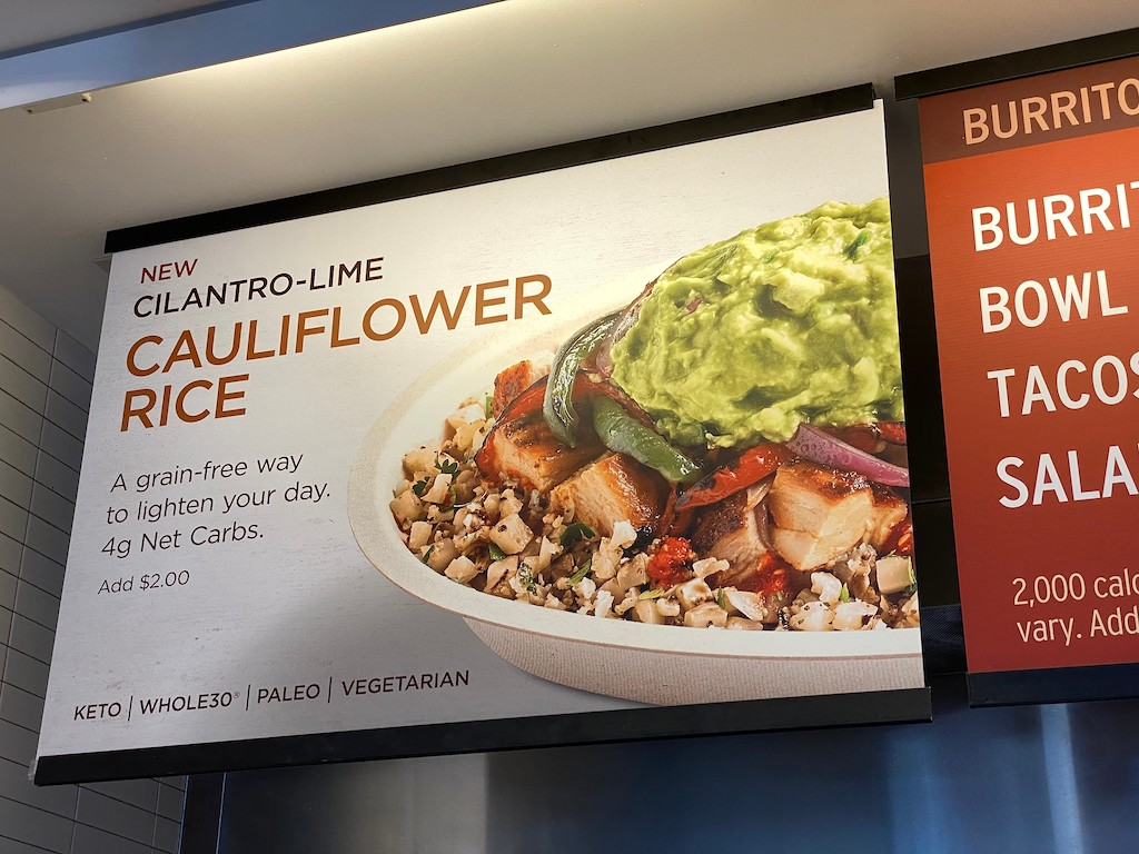 Cilantro-Lime Cauliflower Rice sign at Chipotle