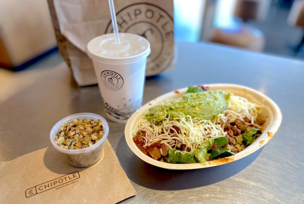chipotle mexican grill food on table
