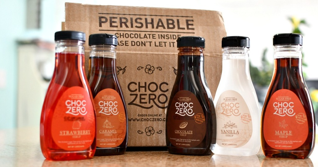 assortment or ChocZero syrups on the counter