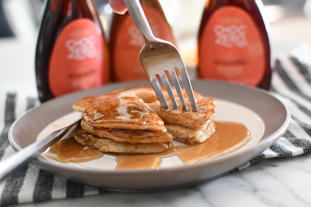 keto Pancakes with ChocZero maple syrup