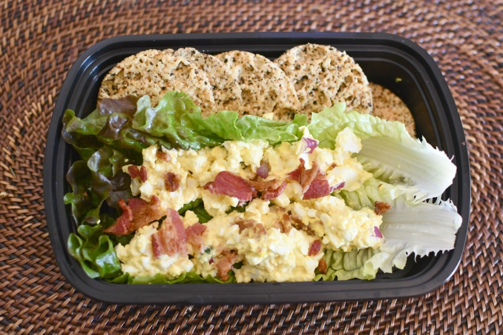egg salad with bacon keto lunch
