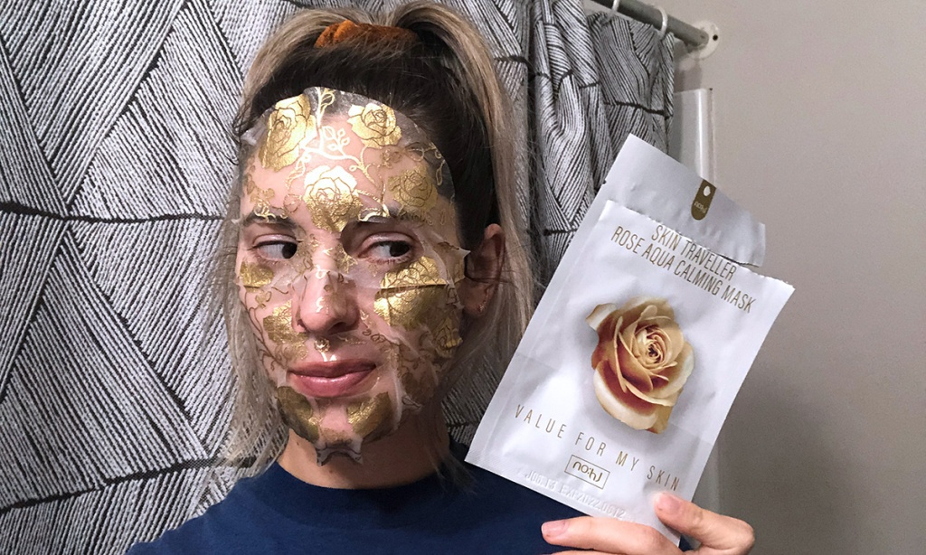 woman wearing skin care face mask