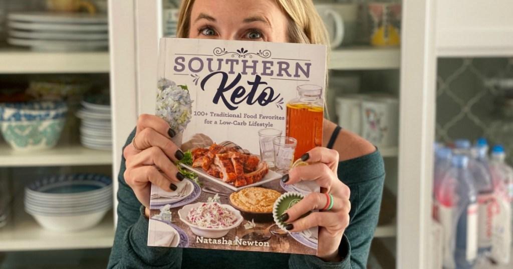 woman holding Southern Keto book
