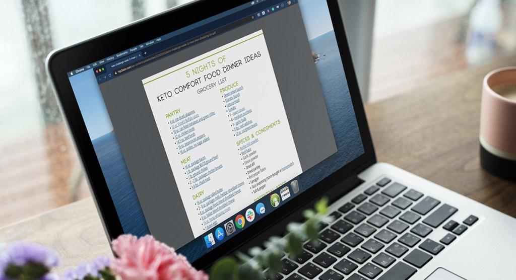 macbook with keto comfort foods grocery list on screen