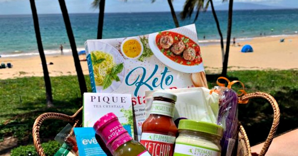 keto condo gift basket on the beach