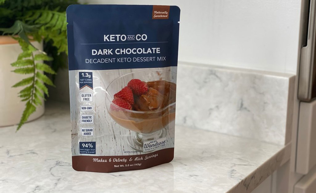 keto and co dark chocolate dessert mix on counter