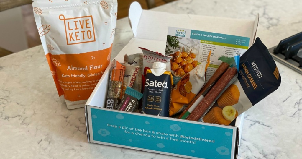 keto delivered box filled with keto foods