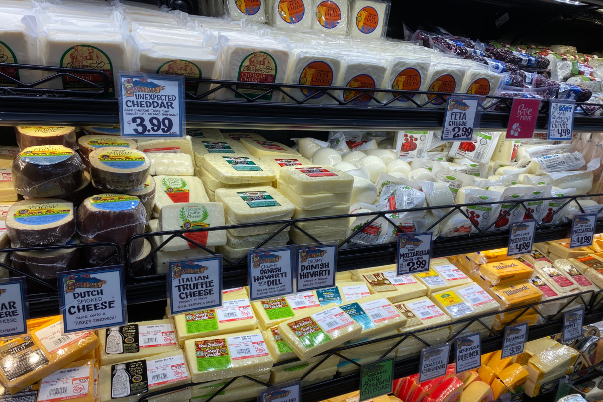 cheese section at trader joe's with other keto groceries