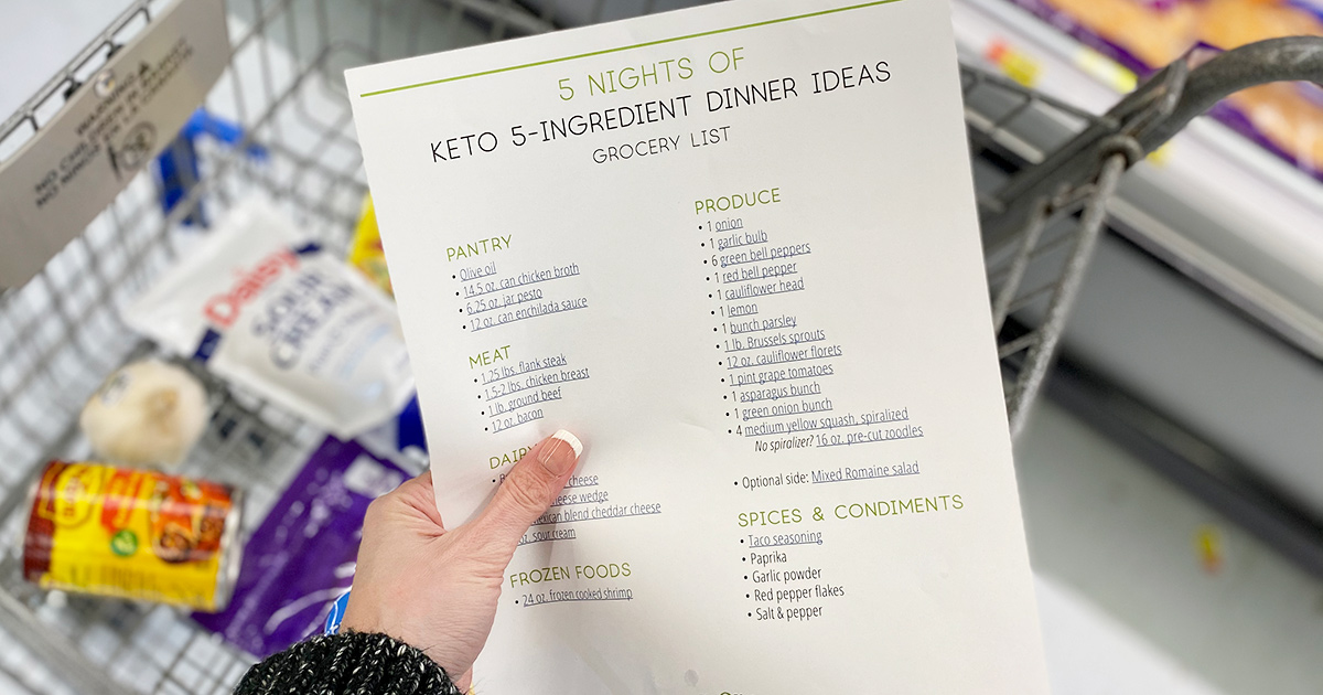 printable 5 ingredient meals grocery list for walmart keto groceries