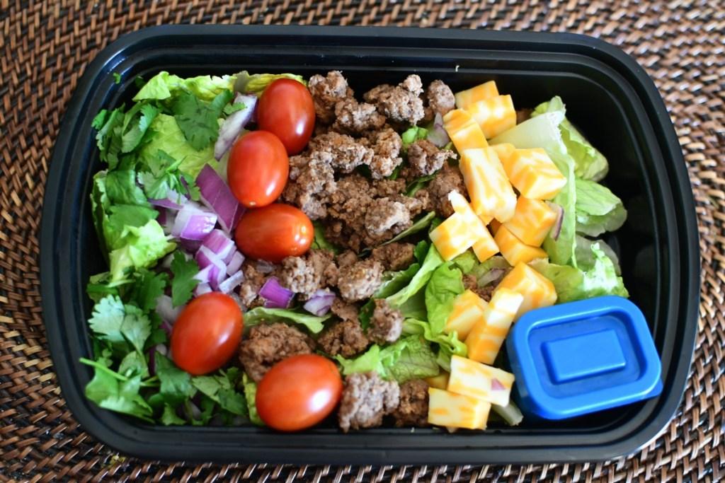keto taco salad lunch to go