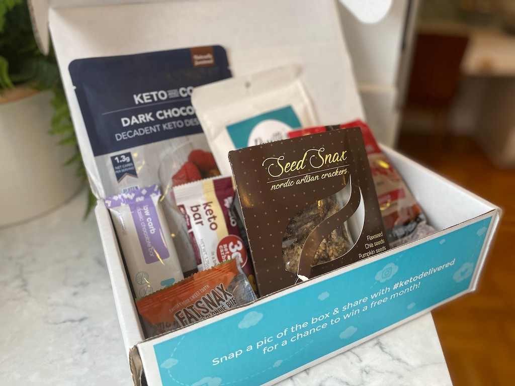 Keto Delivered box with keto foods inside