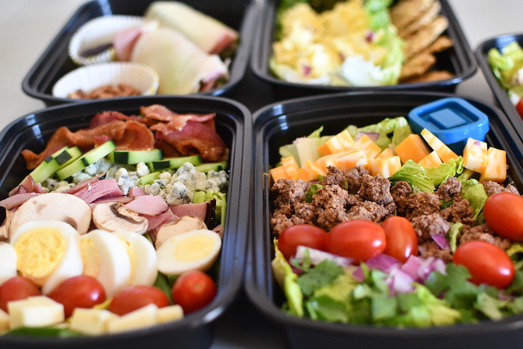 keto salads in meal prep containers