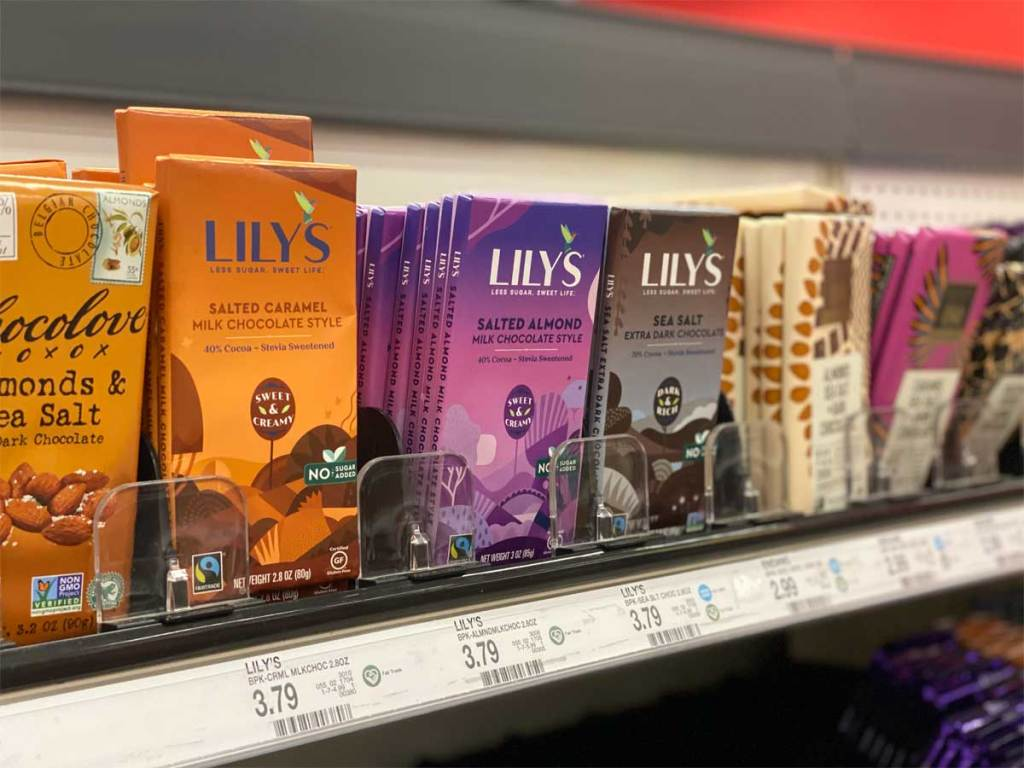 row of chocolate bars at Target