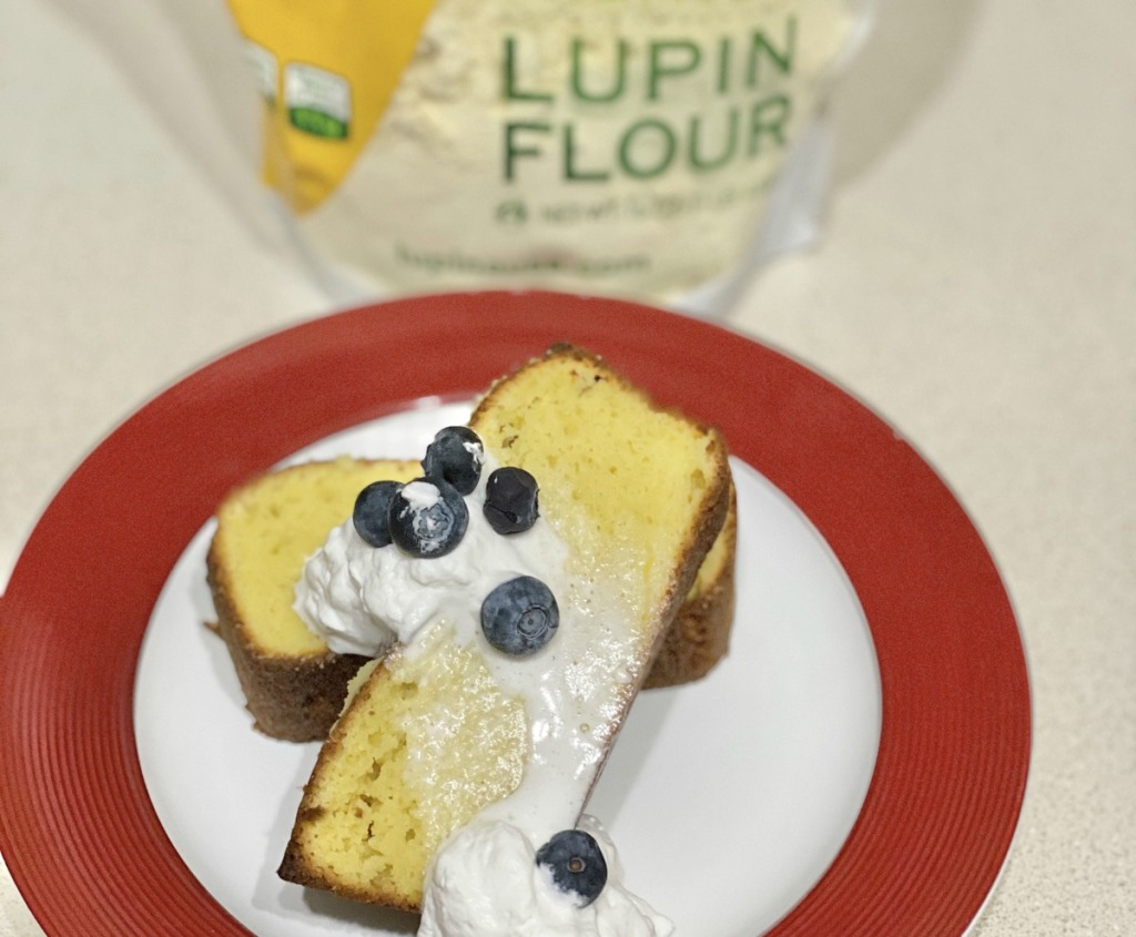 lupin flour pound cake on a plate