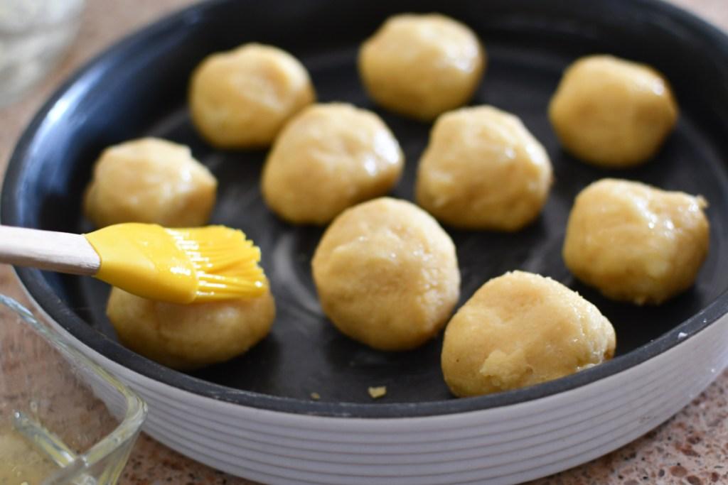 dough balls with egg wash