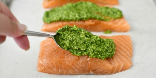 No-Fail Keto Baked Salmon with Cilantro Pesto