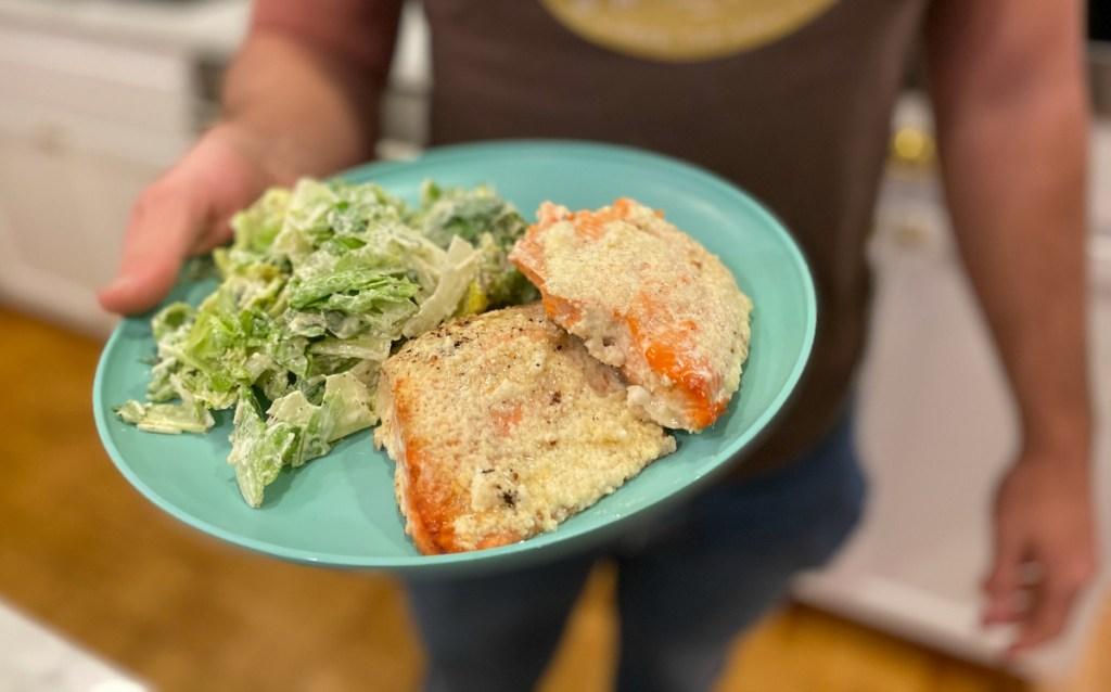 plate of salmon and salad