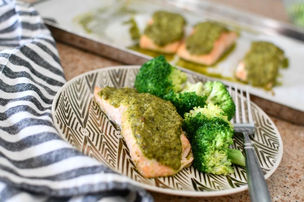 plated cilantro keto salmon