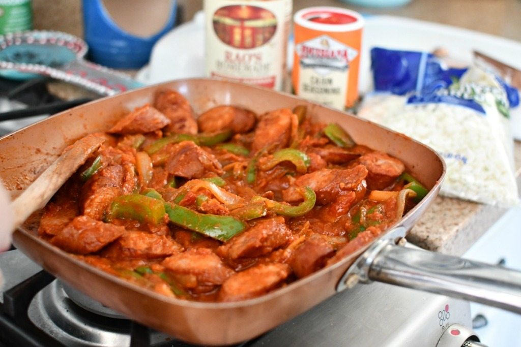 sausage and peppers keto skillet