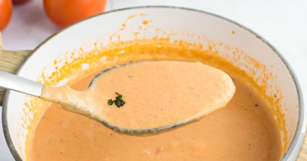 keto tomato basil soup on spoon