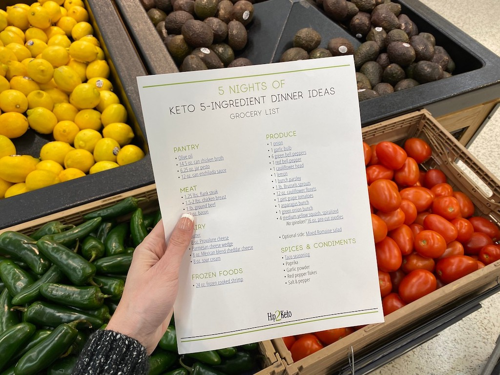 holding keto dinner grocery list in produce section at store