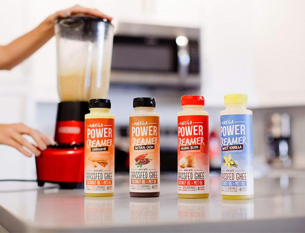 omegapower coffee creamers lined up on counter
