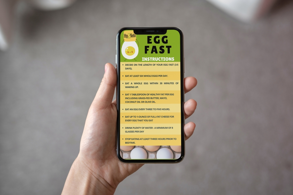 hand holding phone with egg fast instructions